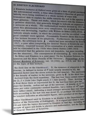 Information on Einstein's blackboard, 1931-Werner Forman-Mounted Photographic Print