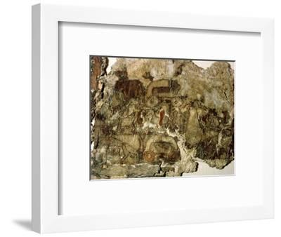 Oseberg tapestry fragment with a design of men, horses and carts, 10th Century-Werner Forman-Framed Giclee Print