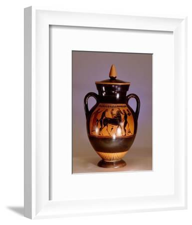 Black painted Athenian amphora with scene from the cult of Dionysus-Werner Forman-Framed Giclee Print