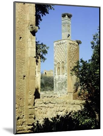The minaret of one of the two mosques which lie inside the Chellah Necropolis-Werner Forman-Mounted Giclee Print