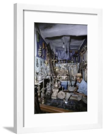 View of traders in an ancient market near San'a-Werner Forman-Framed Giclee Print