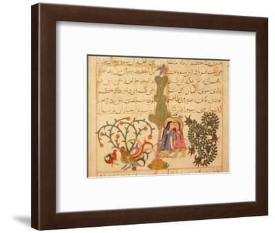 Scene from the only known illustrated manuscript of the poem, the Romance of Varqa and Gulshah-Werner Forman-Framed Giclee Print