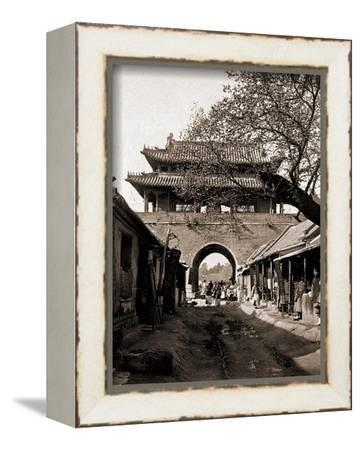 Temple of the Drum -  Qufu - Confucius Birth City-A. Larz-Framed Stretched Canvas Print