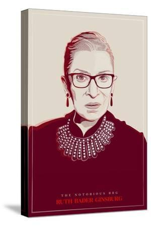 Ruth Bader Ginsburg - The Notorious RBG (Red)--Stretched Canvas Print