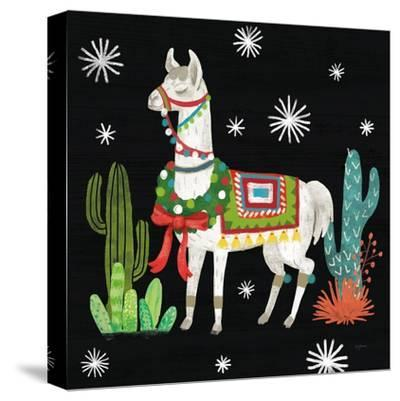 Lovely Llamas V Christmas Black-Mary Urban-Stretched Canvas Print