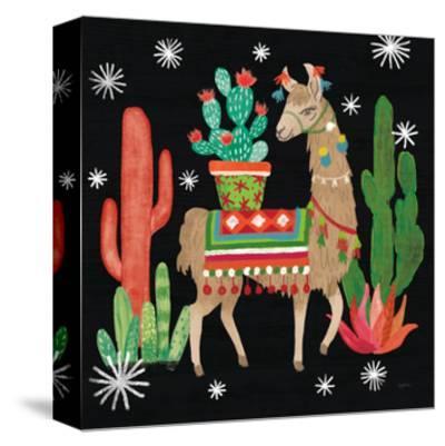 Lovely Llamas III Christmas Black-Mary Urban-Stretched Canvas Print
