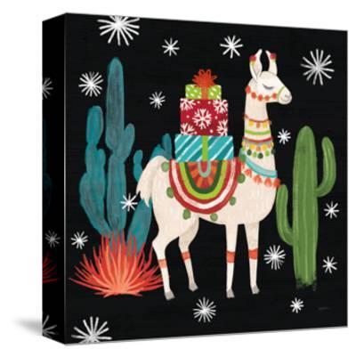 Lovely Llamas II Christmas Black-Mary Urban-Stretched Canvas Print