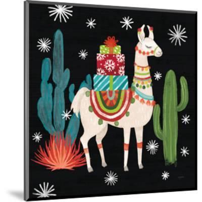 Lovely Llamas II Christmas Black-Mary Urban-Mounted Art Print