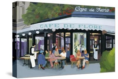 Paris cafe and garcon and guests,2015-Hiroyuki Izutsu-Stretched Canvas Print