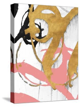 Rose Gold Strokes I-Megan Morris-Stretched Canvas Print