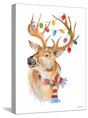 Deer with Lights and Scarf-Lanie Loreth-Stretched Canvas Print