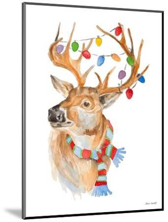 Deer with Lights and Scarf-Lanie Loreth-Mounted Art Print