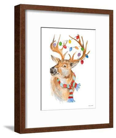 Deer with Lights and Scarf-Lanie Loreth-Framed Art Print