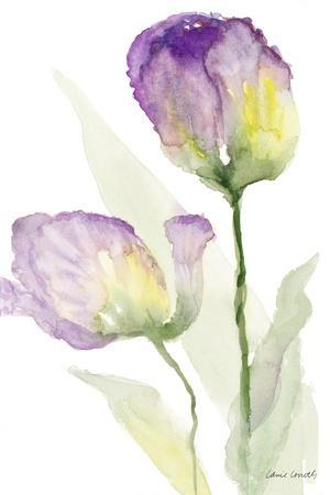 Teal and Lavender Tulips II-Lanie Loreth-Framed Art Print