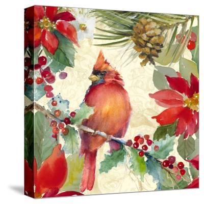 Cardinal and Pinecones II-Lanie Loreth-Stretched Canvas Print