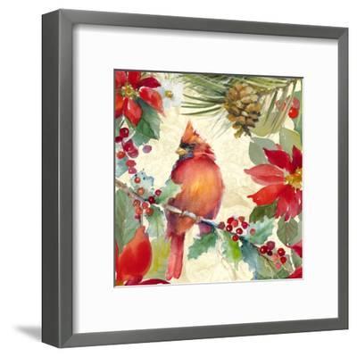 Cardinal and Pinecones II-Lanie Loreth-Framed Art Print
