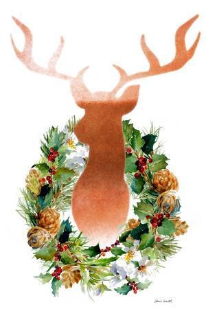 Holiday Wreath With Deer-Lanie Loreth-Framed Art Print