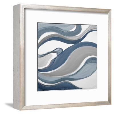 Blue Curves Abstract Square-Lanie Loreth-Framed Art Print