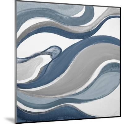 Blue Curves Abstract Square-Lanie Loreth-Mounted Art Print