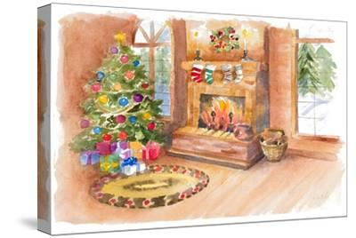 Santa's Fireplace and Tree Scene-Lanie Loreth-Stretched Canvas Print