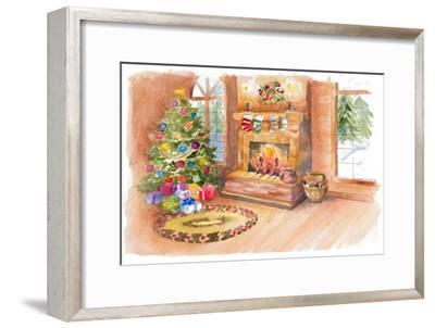 Santa's Fireplace and Tree Scene-Lanie Loreth-Framed Art Print