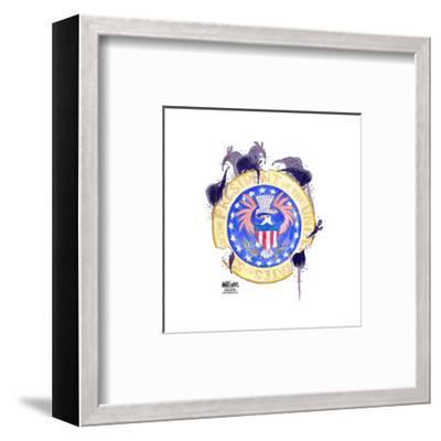 Seal of the President of the United States. E. pluribus unum.-Ann Telnaes-Framed Art Print