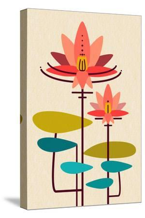 Scandinavian Lotus (White)--Stretched Canvas Print