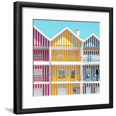 Welcome to Portugal Square Collection - Three Houses of Striped Colors IV-Philippe Hugonnard-Framed Photographic Print