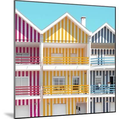 Welcome to Portugal Square Collection - Three Houses of Striped Colors IV-Philippe Hugonnard-Mounted Photographic Print