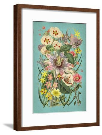 Vintage Flowers on Teal--Framed Art Print