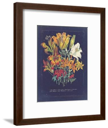 Vintage Dark Floral on Indigo I--Framed Art Print