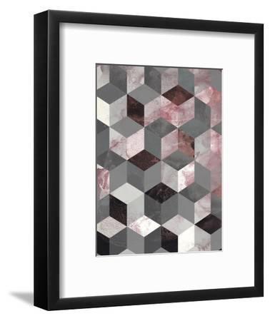 Cubes Rose-Design Fabrikken-Framed Art Print