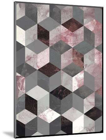 Cubes Rose-Design Fabrikken-Mounted Art Print