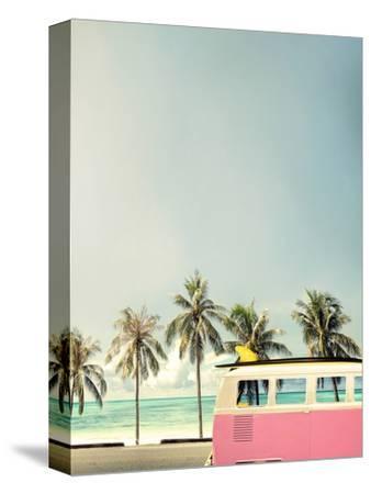 Surf Bus Pink-Design Fabrikken-Stretched Canvas Print