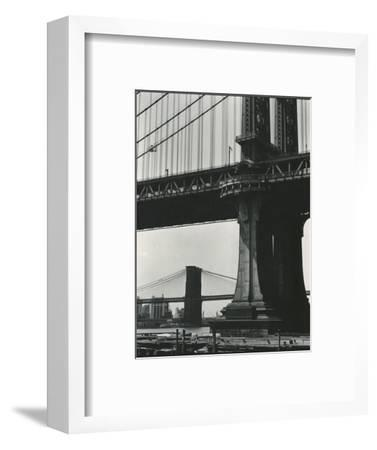 Brooklyn Bridge and Manhattan Bridge, New York, c. 1946-Brett Weston-Framed Photographic Print