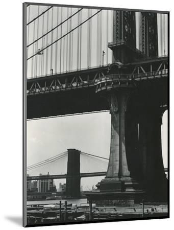 Brooklyn Bridge and Manhattan Bridge, New York, c. 1946-Brett Weston-Mounted Photographic Print