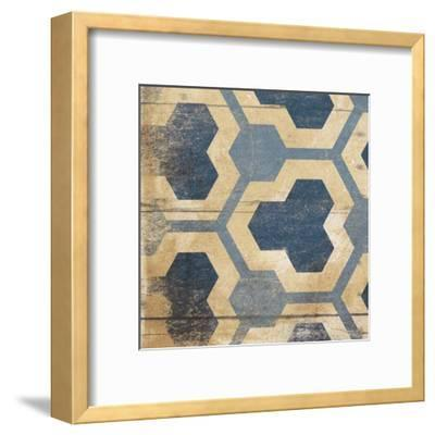 Blue Geo 7-Jace Grey-Framed Art Print