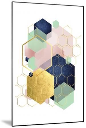 Gold Blush Navy Mint Hexagonal-Urban Epiphany-Mounted Art Print