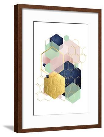 Gold Blush Navy Mint Hexagonal-Urban Epiphany-Framed Art Print
