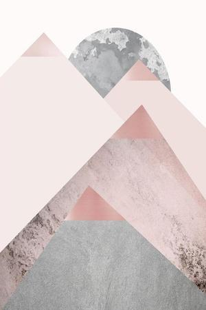 Blush Pink Mountains 2-Urban Epiphany-Stretched Canvas Print