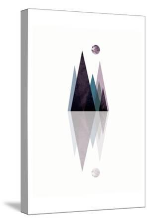 Scandi Mountains Blue 3-Urban Epiphany-Stretched Canvas Print