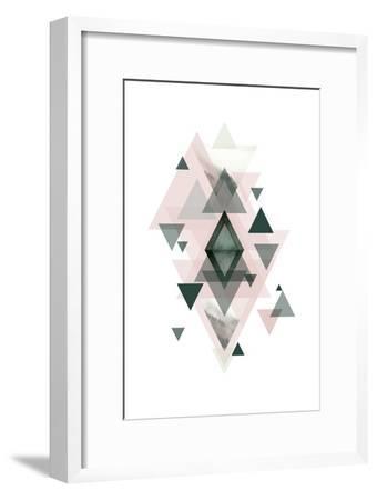 Pink Green Geometric 1-Urban Epiphany-Framed Art Print