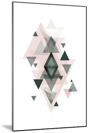 Pink Green Geometric 1-Urban Epiphany-Mounted Art Print