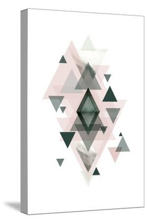 Pink Green Geometric 1-Urban Epiphany-Stretched Canvas Print