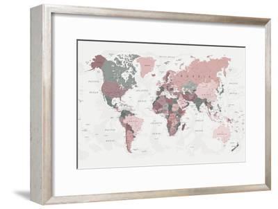 World Map Pink Green 2-Urban Epiphany-Framed Art Print