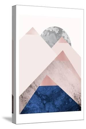 PinkNavy Mountains 2-Urban Epiphany-Stretched Canvas Print