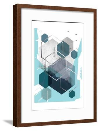 Abstract Teal 1-Urban Epiphany-Framed Art Print