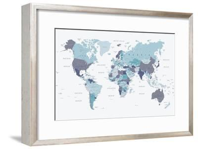 World Map Blue 1-Urban Epiphany-Framed Art Print