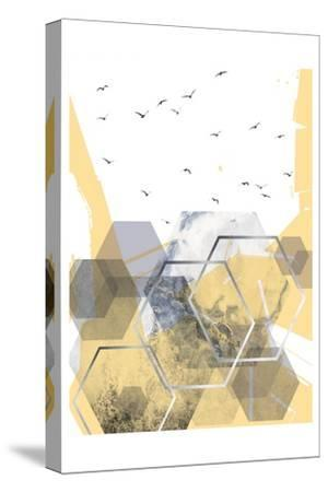 Yellow Grey Abstract Hexagons 2-Urban Epiphany-Stretched Canvas Print