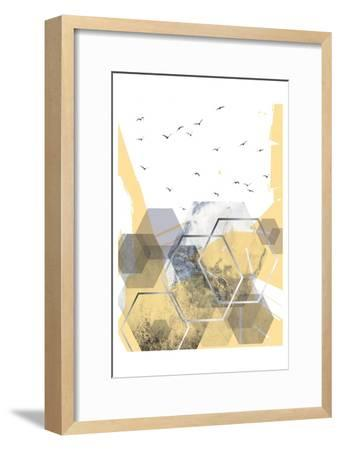 Yellow Grey Abstract Hexagons 2-Urban Epiphany-Framed Art Print